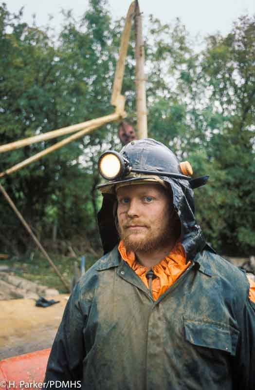 A thoughtful Terry Worthington after the headgear collapsed, Wills Founder Shaft, Winster.