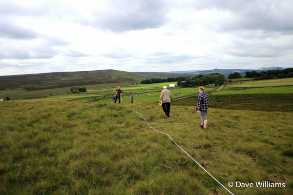 Laying out survey traverses for Rob and his Gradiometer. Lodge Moor Bole site, July 2016.
