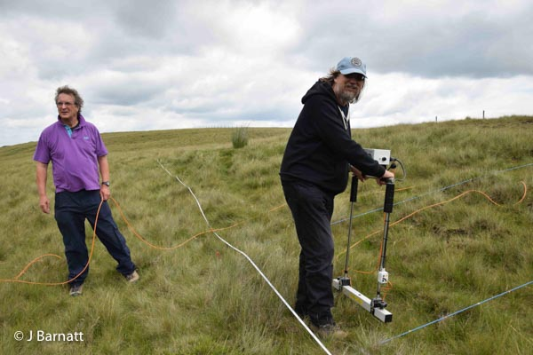 Alan Powell and Dave Williams with the Resistivity apparatus. Lodge Moor Bole site, July 2016.