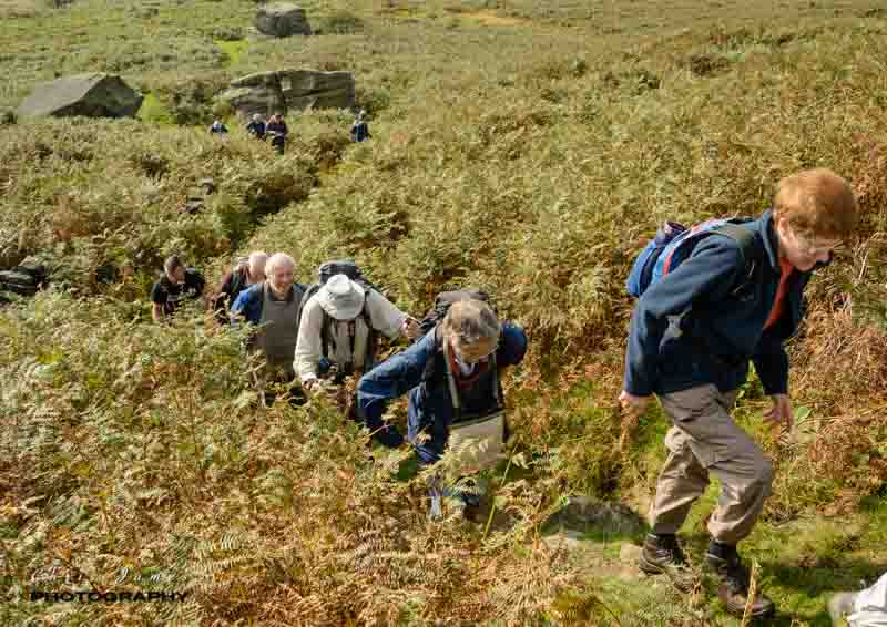 All smiles as we climb up Stanage Edge