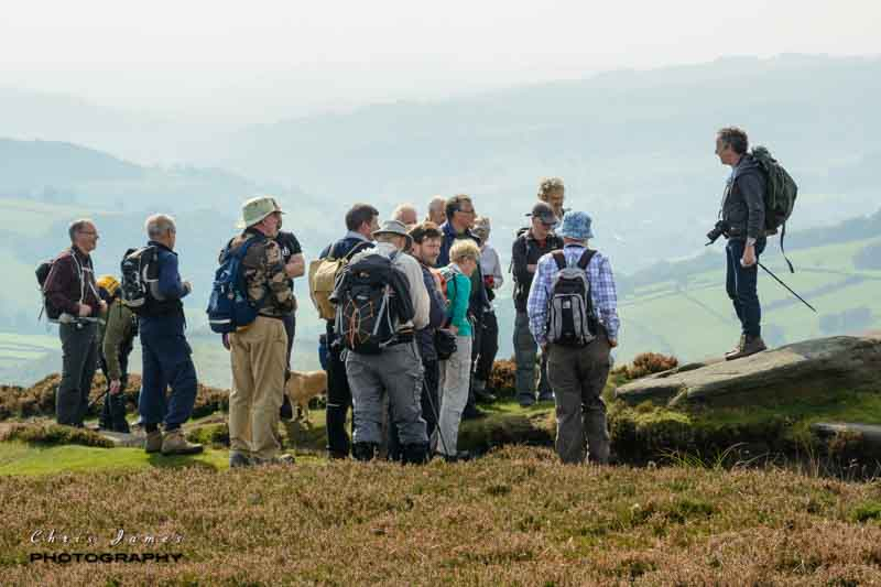 On Stanage Edge with the Derwent Valley behind