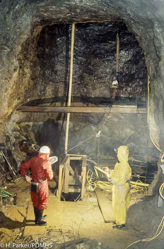 Wills Founder Engine Chamber, now used as the access point for the pump. Winster 1978.