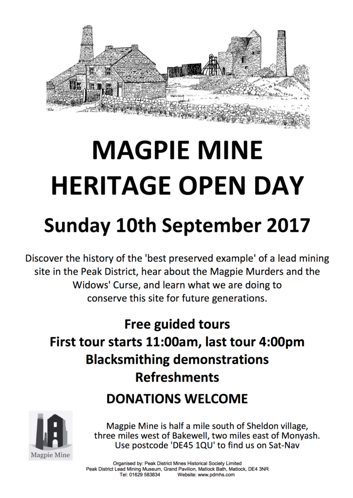 Poster for the Derbyshire Heritage Open Day at Magpie Lead Mine, Sheldon, Peak District