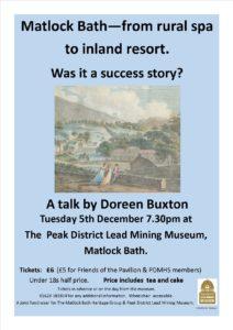 Derbyshire heritage event - Matlock Bath talk Dec 2017