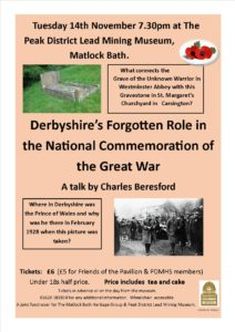 Derbyshire Heritage Event for November 2017 at the Peak District Mining Museum, Matlock Bath