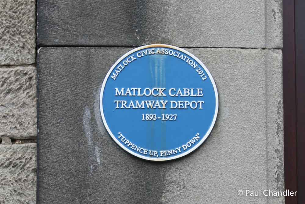 Plaque on former tramway depot, Bank Road, Matlock, Derbyshire