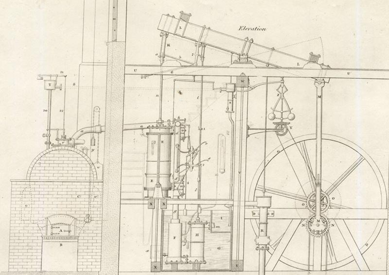 steam engine drawing